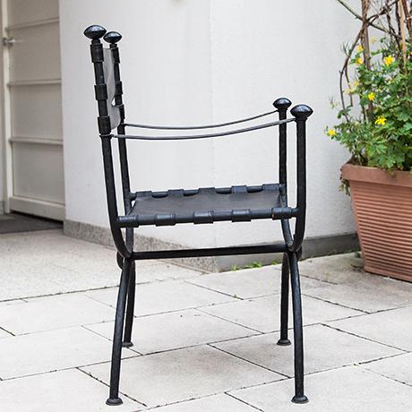 Maison-Jansen-Sessel-schwarz-leder-vintage