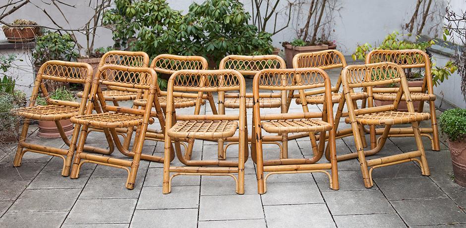 Klappstühle-Stuhl-bambus-vintage